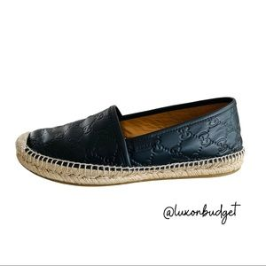 Gucci Black Leather Espadrilles - 39